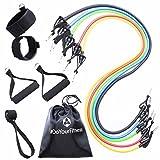 #DoYourFitness Widerstandsband Set mit Griffen & Türanker - 5x Gymnastikbänder in unterschiedlichen Zugstärken (farblich codiert) - für Yoga Fitness Pilates & Krafttraining/für Männer & Frauen