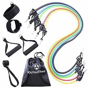 #DoYourFitness® Widerstandsband Set mit Griffen & Türanker – 5X Gymnastikbänder in unterschiedlichen Zugstärken (farblich codiert) – für Yoga Fitness Pilates & Krafttraining/für Männer & Frauen