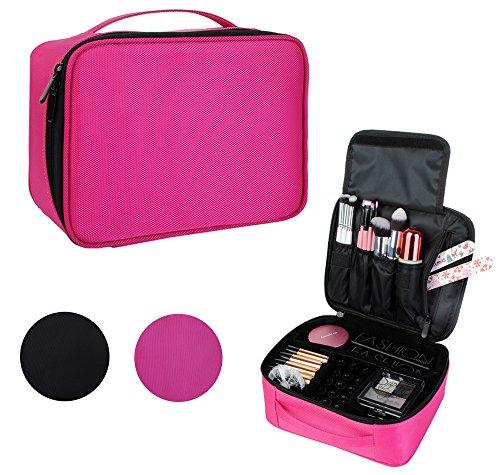 Kosmetiktasche Kosmetikkoffer Organizer-Professionelle Reisengepäck Schminktasche Fall-Reise Make-up Werkzeuge Container Rosa 24x9,5x20cm