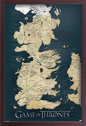 empireposter Game of Thrones - Map - Fantasy Film Poster - Grösse 61x91,5 cm + Wechselrahmen, Shinsuke® Maxi MDF Walnuß, Acryl-Scheibe - Fantasy Walnuss