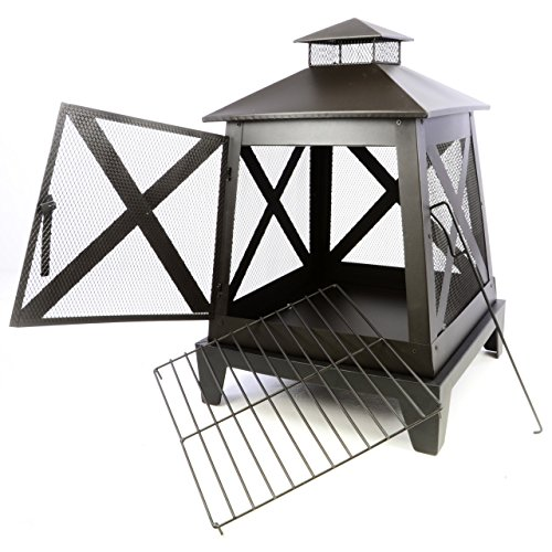 Nexos Terrassenofen Metall Feuerstelle 82 x 54 x 54 cm Feuerhaken Rost Gartenkamin mit Tür robust wetterfest 13 kg schwarz -