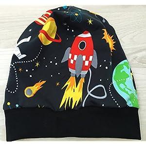 Beanie Mütze mit Weltraum-Motiv anthrazit Kopfumfang 50-55 cm