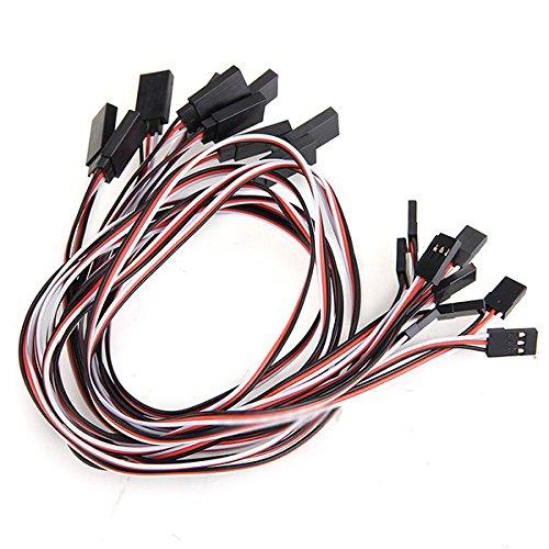 Xatan 10 x 500mm 3-polig Servo-Verlängerungskabel Drähtes Kabel Stecker auf Buchse Remote Control RC für RC Auto Flugzeug