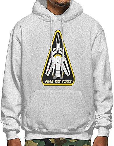 HTETRERW Personalized Skull Squadron VF-1S Valkyrie Logo Hoodie Sweatshirt for Mens Black S