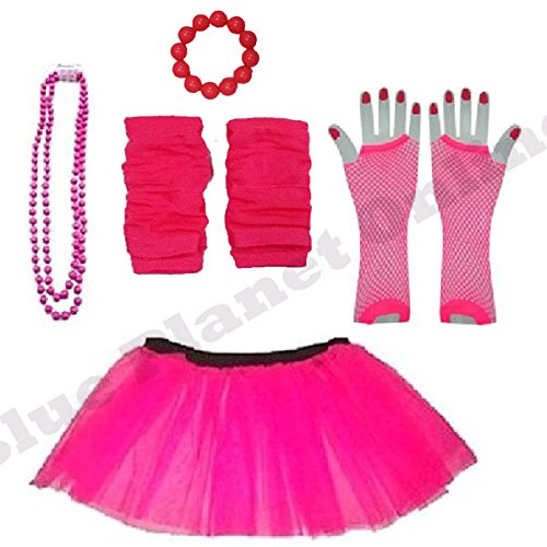 Childrens 4-7 Years - Neon Tutu Skirt (many colours), Fishnet Gloves, Legwarmers, Beads Necklace & Chunky Bracelet
