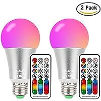 Bombilla de cambio de color de 10 W, E27 rosca Edison RGBW,120 opciones de color, RGB blanco cálido, doble memoria, mando a distancia equivalente a 60W incluido para decoración del hogar 2 unidades