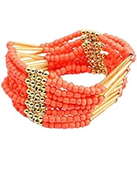Retro Damen Schmuck Bohemian Stil Perlen breit Armreif Armband Schmuck