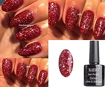 Bluesky BLZ12 Christmas Red Multi Glitter Sparkle Nail Gel Polish UV LED Soak Off 10ml PLUS 2 Homebeautyforyou Shine Wipes