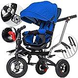 5in1 Dreirad Kinderdreirad Kinder Fahrrad Rad ✔Kinderwagen mit lenkbarer Schubstange ✔klappbares, ✔flüsterleise Gummireifen und Sonnendach, ✔5-fach Umbau ✔mitwachsend Blau