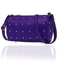 Blue Sling Bag With Metal Rivets| Adjustable Strap | Zip Closure | Daily Wear Sling Bag For Women(KCPM55-BU)