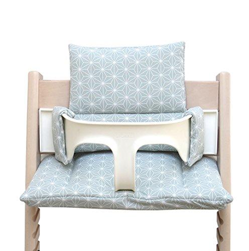 Blausberg Baby *41 couleurs* coussin set de siège pour chaise haute Stokke Tripp Trapp tous les matériaux sont certifiés OEKO-TEX® Standard 100-100% made in Hamburg (Happy Star Vert)