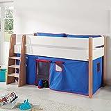 Pharao24 Halbhohes Kinderbett mit Vorhang in Blau Rot 120 cm breit