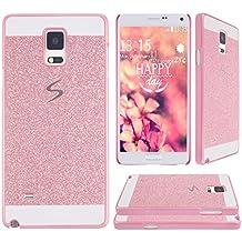 Galaxy Note 4 N9100,Galaxy Note 4 Tapa,Asnlove Carcasas y funda policardonato dura brillo case diseño bling brillante tapa trasera para Samsung Galaxy Note 4 N9100-Rosa