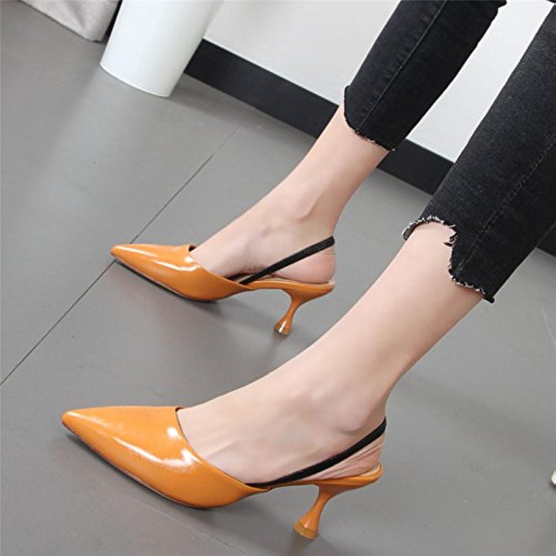 Xue Qiqi Chaussons femme cool avec sangle arrière fine pointe de de pointe la mode sandales Baotou, porter un demi-glisser...B07DMJN75JParent 721bd4