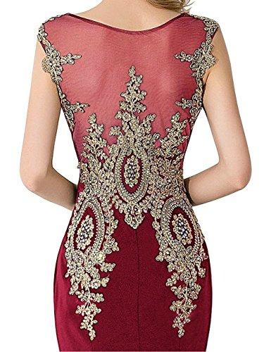 Babyonlinedress Damen Bodenlang ärmellos Abendkleid Applikationen Crystal Brautjungfernkleider in 7 Farben Wein-rot