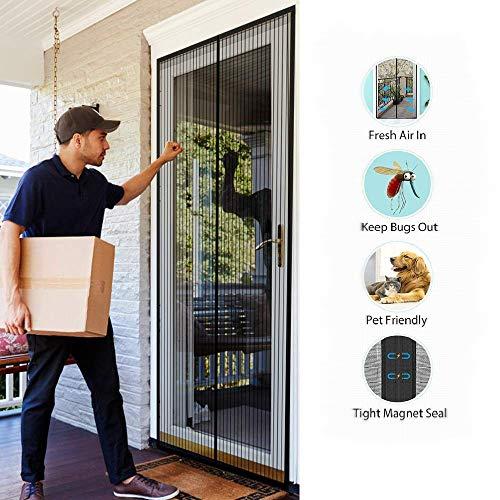 SODKK Fliegengitter balkontür 150x200cm, Insektenschutz Tür mit Klettband, Magnet Fliegenvorhang, Fliegengitter Magnetvorhang für Türen, Passt Türgröße bis zu - Schwarz