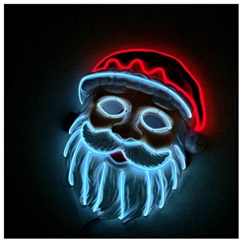 uchtende Maske Santa Maske LED Maskerade Party Flash Maske Cosplay Halloween Kostüm,White-Ordinary ()