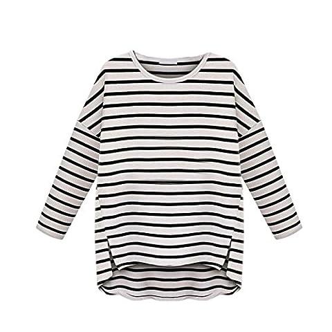 LMMVP, Femmes Été Rayures Casual Col Rond à Manches Longues T-shirt Chemise (Blanc, l)