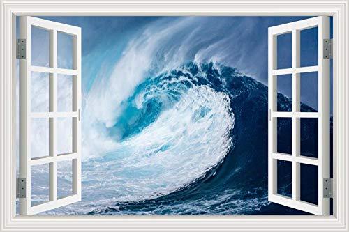 Adesivo Murale, Carta Da Parati 3D Con Vista Sulla Finestra, Decalcomania Con Vista Sul Mare Con Onde Naturali Del Mare, Soggiorno R15 50X70Cm