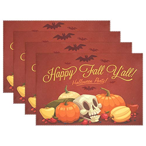(WAMIKA Happy Fall und Halloween Tischsets für Esstisch Set 1, Küche Tisch Matten waschbar hitzebeständig schmutzabweisend rutschfeste Tisch-Sets 30,5x 45,7cm leicht zu reinigen, Polyester-Mischgewebe, multi, 12x18 inch)
