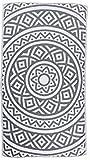 Bersuse 100% Baumwolle - Venice Türkisches Handtuch - Doppellagiges Gewebe - Badestrand Fouta Peshtemal - Mandala Design auf Handwebstuhl Pestemal - 100X180 cm, Silber-Grau