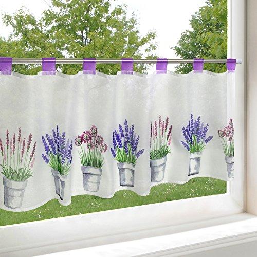 Kamaca - moderna e decorativa tendina per finestre semitrasparente con passanti, in morbido voile e stampe digitali con motivi a fiori, 45 x 115 cm (a x l), un gioiello in ogni cucina, tessuto, lavanda, 45x115 cm