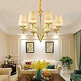Wmshpeds Amerikanische Kronleuchter einfach und rustikal Wohnzimmerlampe moderne minimalistische Wohnzimmer-Lampen Nordic schmiedeeiserne Kronleuchter Schlafzimmer Restaurant