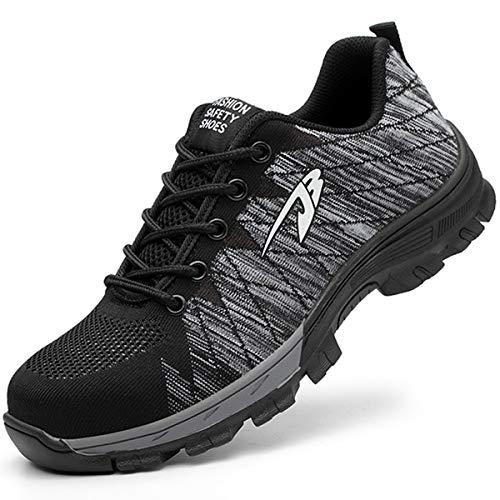 Suadeex uomo donna scarpe da lavoro antinfortunistiche con punta in acciaio s1 unisex-adulto scarpe sportive di sicurezza sneaker stile,grigio,46 eu