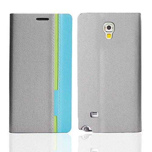 Schutz-Hülle für Smartphone Handy-Tasche Flip Case Cover Bag Standfunktion EC Kartenfach für Samsung Galaxy Sony Xperia Apple iPhone Nokia LG von NAUC®, Handy Modelle für:Samsung Galaxy S5 mini, Farbe Grau-Hellblau