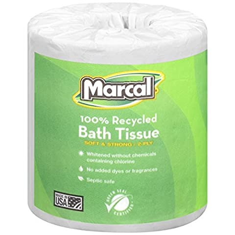 Marcal 6495 100% Recycled Convenient Roll Out Pack Bath Tissue, 504 Sheets (Case of 48 Rolls)