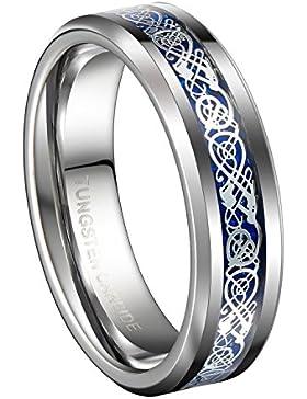 Queenwish Verlobungsring,6mm Silber Drache & Blau Kohlefaser Rille Ringe Wolframkarbid Hochzeitsring Herren Damen...