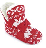 Girls Nordic Rabbit Jacquard Knit Boa Fleece Lined Bootie Slippers With Knitted Bow Trim