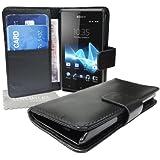 StyleBitz NOUVEAU étui portefeuille en cuir PU pour Sony Xperia J avec tissu de nettoyage LMC (noir)