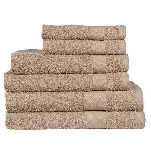 Juego de 6 lujosas toallas de uso diario Sweet Needle, 100 % algodón ringspun y parte de rayón absorbente, 2 toallas grandes de baño (68 x 126 cm), 2 toallas de mano (40 x 70 cm), 2 paños (30 x 30 cm), 500 gsm