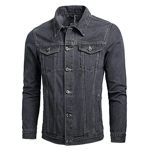 KPILP Herrenmode Herbst Winter Taste Einfarbig Vintage Jeansjacke Tops Bluse Mantel Outwear Langarm-Shirt(X1-grau,M) -