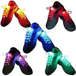 5 pares de cordones LED, multicolor Light Up cordones de los zapatos con 3 modos de luz con pilas Intermitente para el partido de la noche de baile Cosplay Hip-hop Ciclismo Senderismo