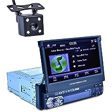 Reakosund de 7 pulgadas de coche GPS jugador universal de un solo coche de dinar auto estéreo 7158G con función retráctil automática con cámara retrovisora