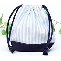 Preisvergleich für Drawstring Gokigen lunch (small size) gusset bag cup Basic stripe, light blue, dark blue canvas x made in Japan N3501500 (japan import)