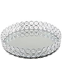 B Blesiya Bandeja Decorativa Borde de Hueco de Material Metal Cristal