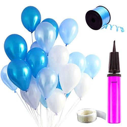 Auped Blaue Ballons Set , Enthaltet 100 Luftballons ( Perlmutt + Hellblau + Dunkelblau ) , 1 Ballonpumpe , 100 Stück Kleber , 250 Meter Hellblaue Bänder