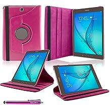Samsung Galaxy Tab A 9.7 Funda, SAVFY® Giratoria 360 grados Stand PU Funda Flip Set ( con Auto Reposo / Activación Función ) + Paño de Limpieza + Protector de la Pantalla + Lápiz Optico para Samsung Galaxy Tab A 9.7 Pulgadas T550 - Rosado