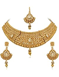 Apara Gold Plated Kundan Necklace Set With Maang Tikka For Women