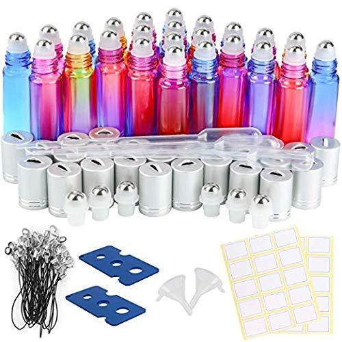 Gradient Glasflaschen für ätherische Öle ,EEIEER Glas Roll-On Flaschen 10ml,nachfüllbarer Behälter für Aromatherapie mit Flaschenöffner Pipetten und Etikette Ideal für Haus und Reise 24 STK -