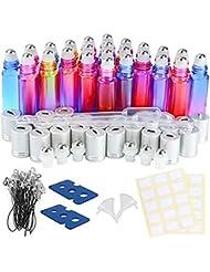 Rainbow Glasflaschen für ätherische Öle,EEIEER Glas Roll-On Flaschen 10ml,nachfüllbarer Behälter für Aromatherapie mit Flaschenöffner und Glastropfflasche Ideal für Haus und Reise Gradient 24 Pack
