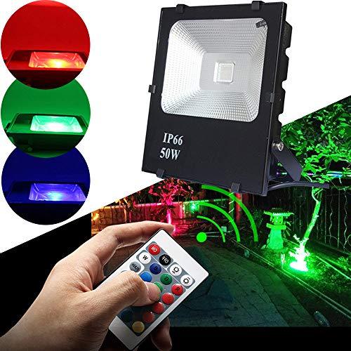 Aluminium Garage (HENGMEI LED Strahler Fluter Außenstrahler 50W RGB IP66 Wasserdicht Flutlicht Aluminium Scheinwerfer für Garten, Garage, Sportplatz)