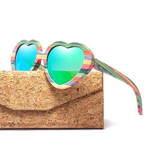 LKVNHP Mode Herz Sonnenbrillen Frauen Holz Bambus Sonnenbrille Herren Polarisierte Rosa SchattenC4 Grün