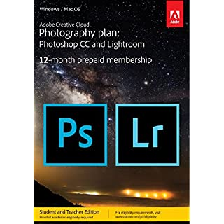 Adobe Creative Cloud Photography plan with 20GB Student Teacher Edition: Photoshop CC + Lightroom CC   1 Year Licence   Online Code & Download