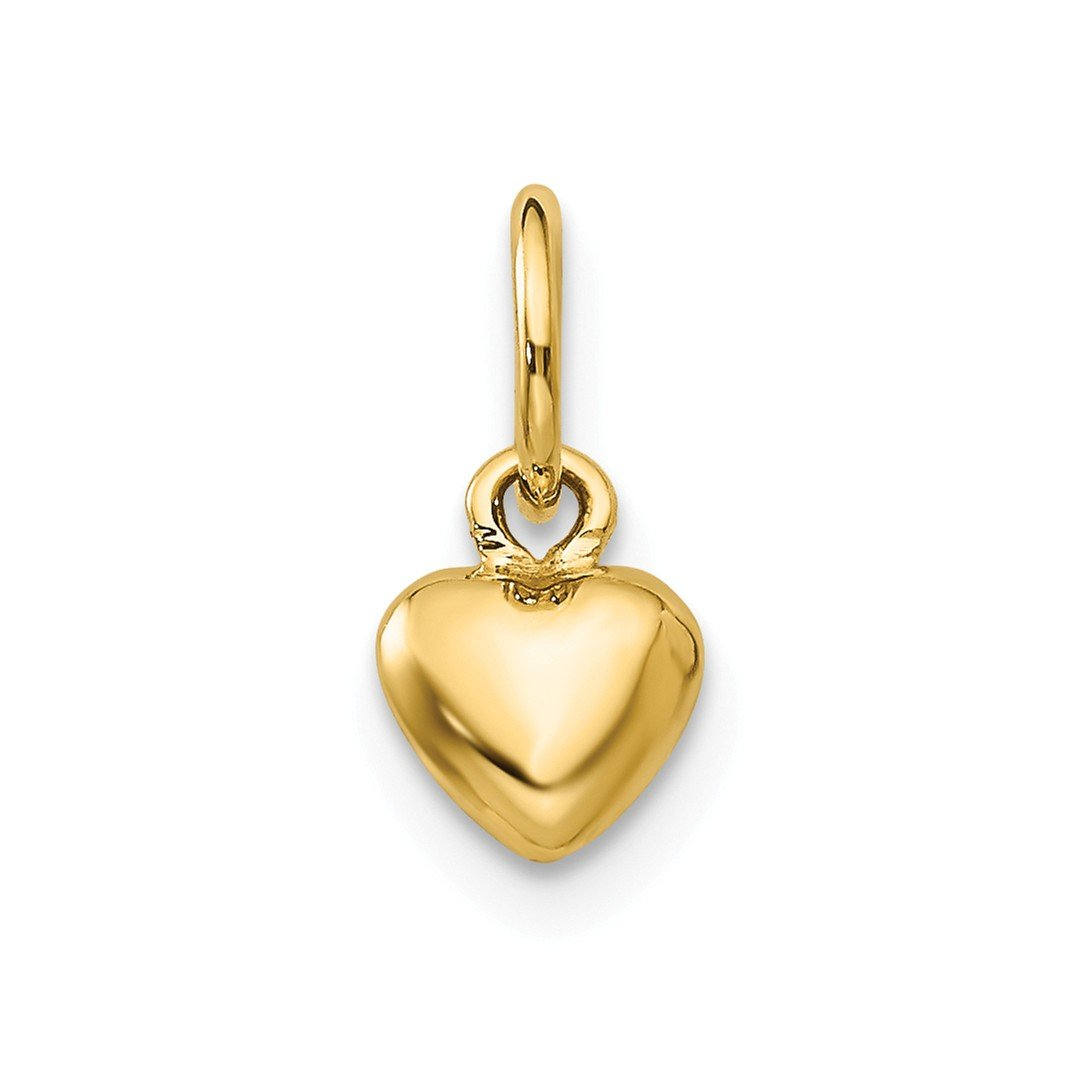 14k Yellow Gold 3 D Heart Pendant Charm Necklace Kid Love Puffed Fine Jewellery For Women Gifts For Her