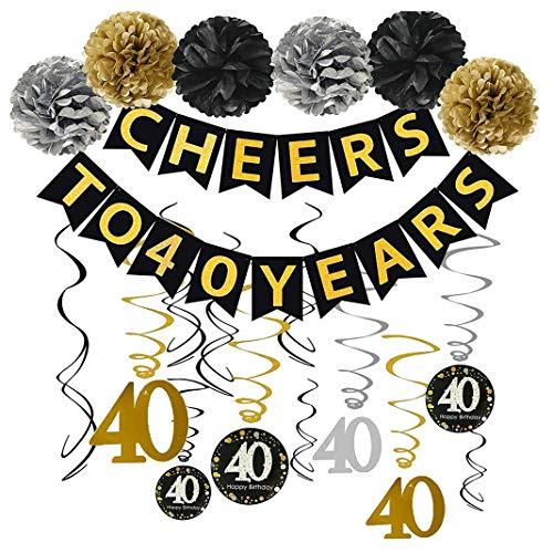 KuKiMa Geburtstags Dekoration Set Happy Birthday Dekoration Hängender Strudel Party Supplies für Mädchengeburtstags Party - 40th