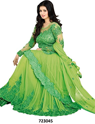 FOG_hevey Party Wear Indian Style Beutifual Light Green Semi Stitched Embroidered Anarkali Suit